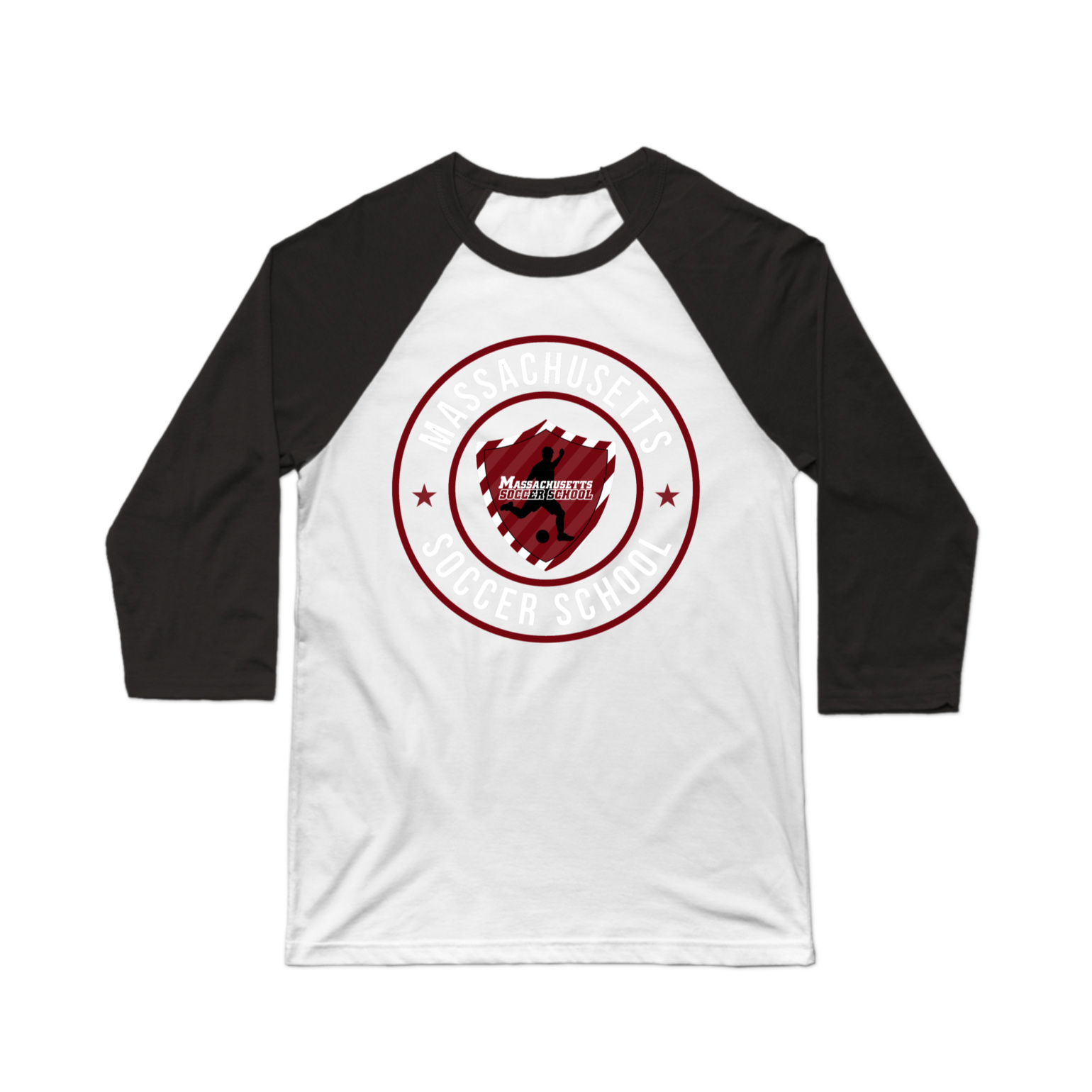 Massachusetts Soccer School Baseball Tee